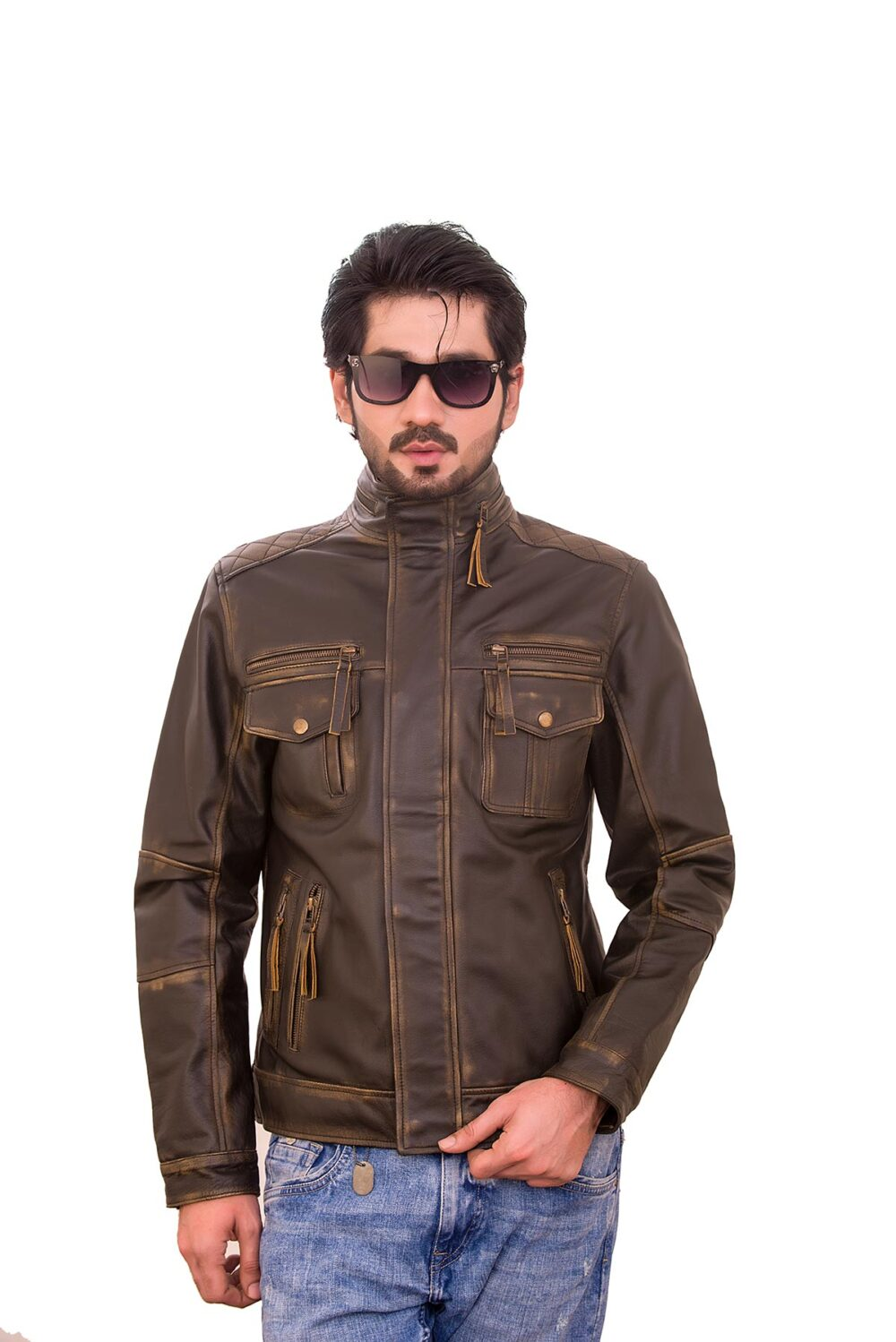 Distressed Brown Retro Cafe Men's Leather Racer