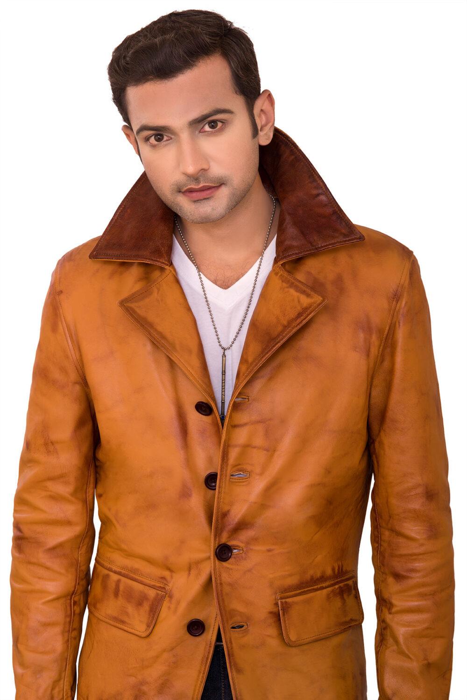 Adrien Tan Brown Waxed Sheepskin Leather Coat