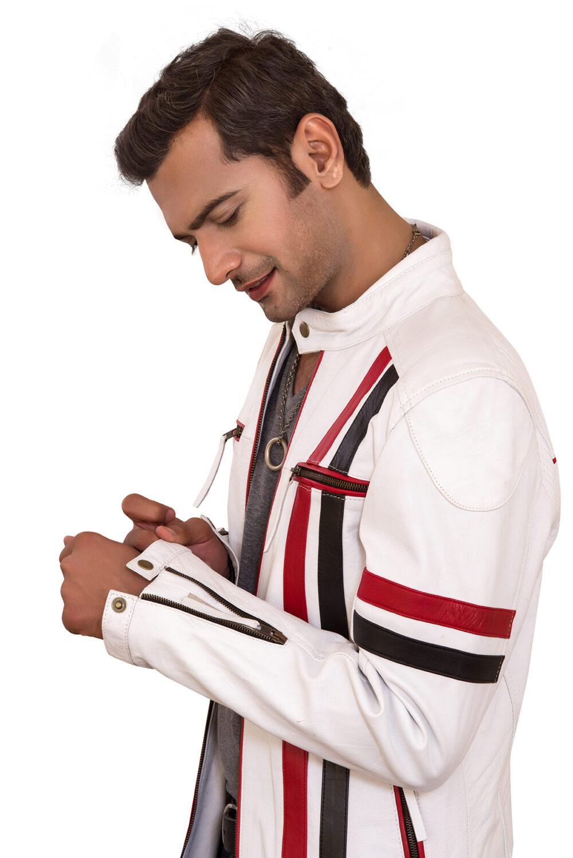 Zenith White Sheepskin Men's Racer Leather Jacket