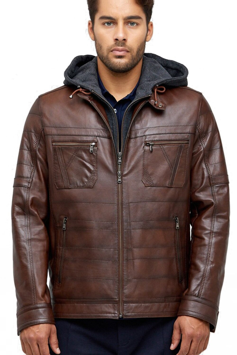 Ronny Vintage Brown Men's Hooded Leather Jacket