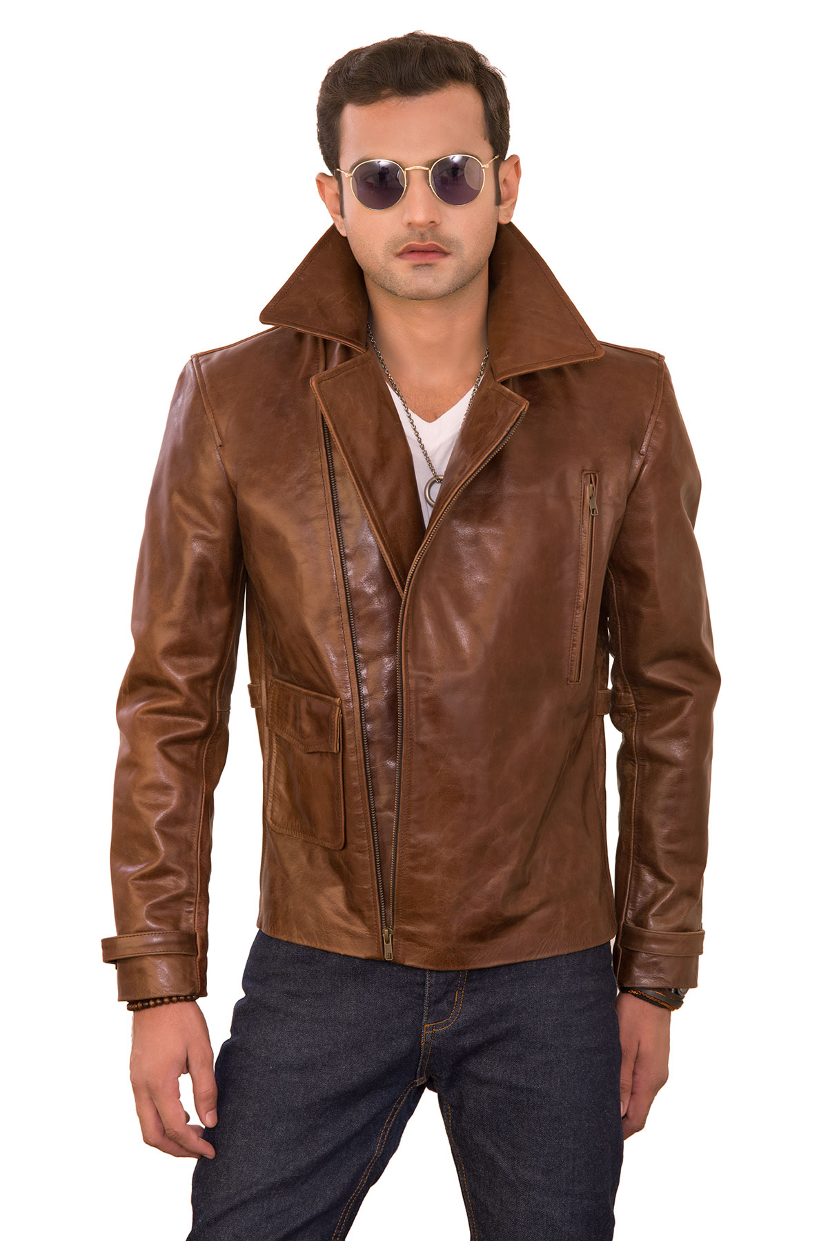 white leather jacket mens outfit