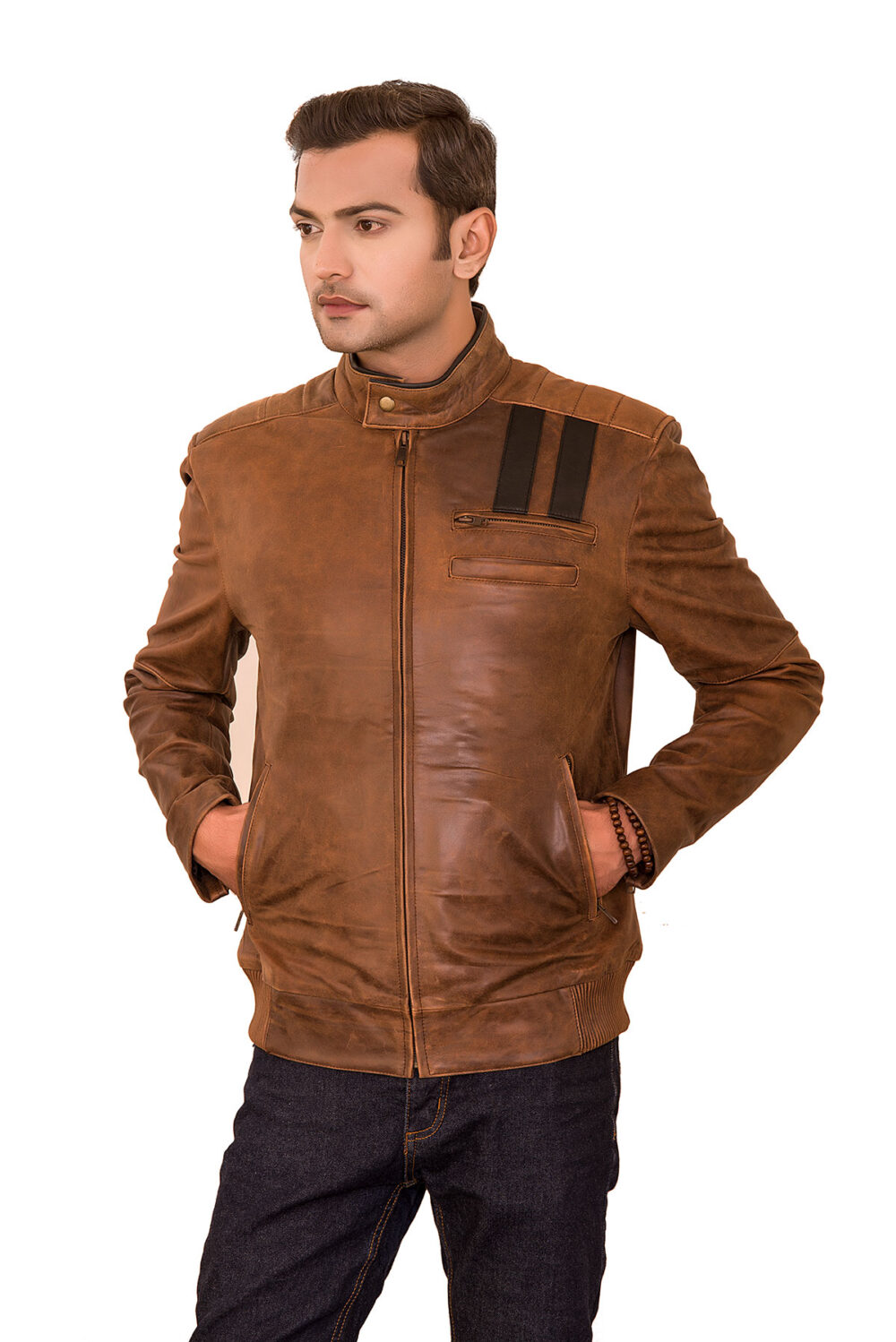 Lansing Vintage Brown Distressed Leather Jacket