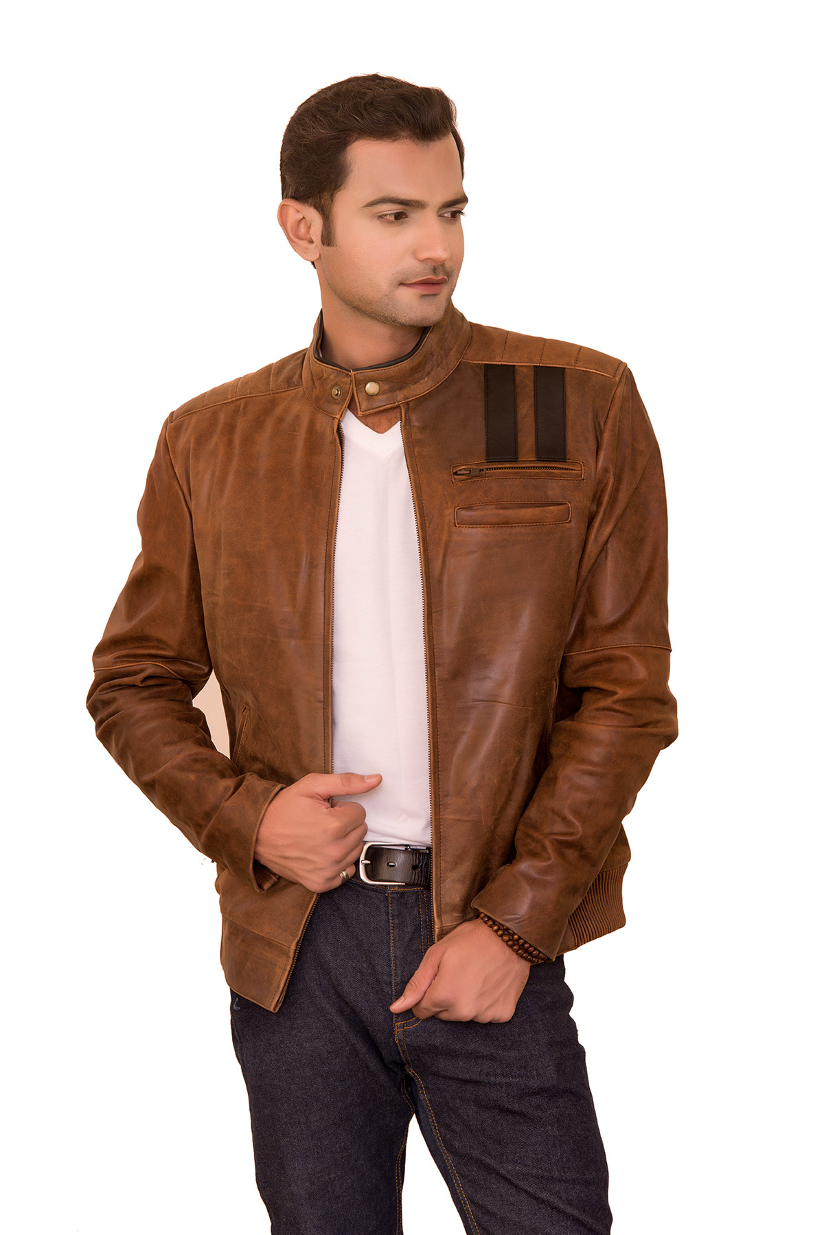 leather biker jacket mens outfit