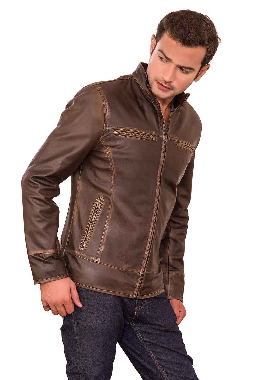 Classic Distressed Brown Triple Stitched Leather Jacket