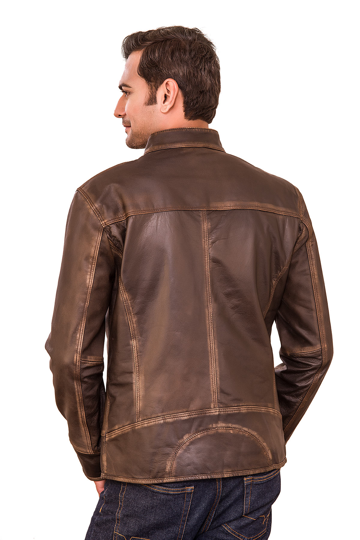 mens cafe racer leather biker jacket