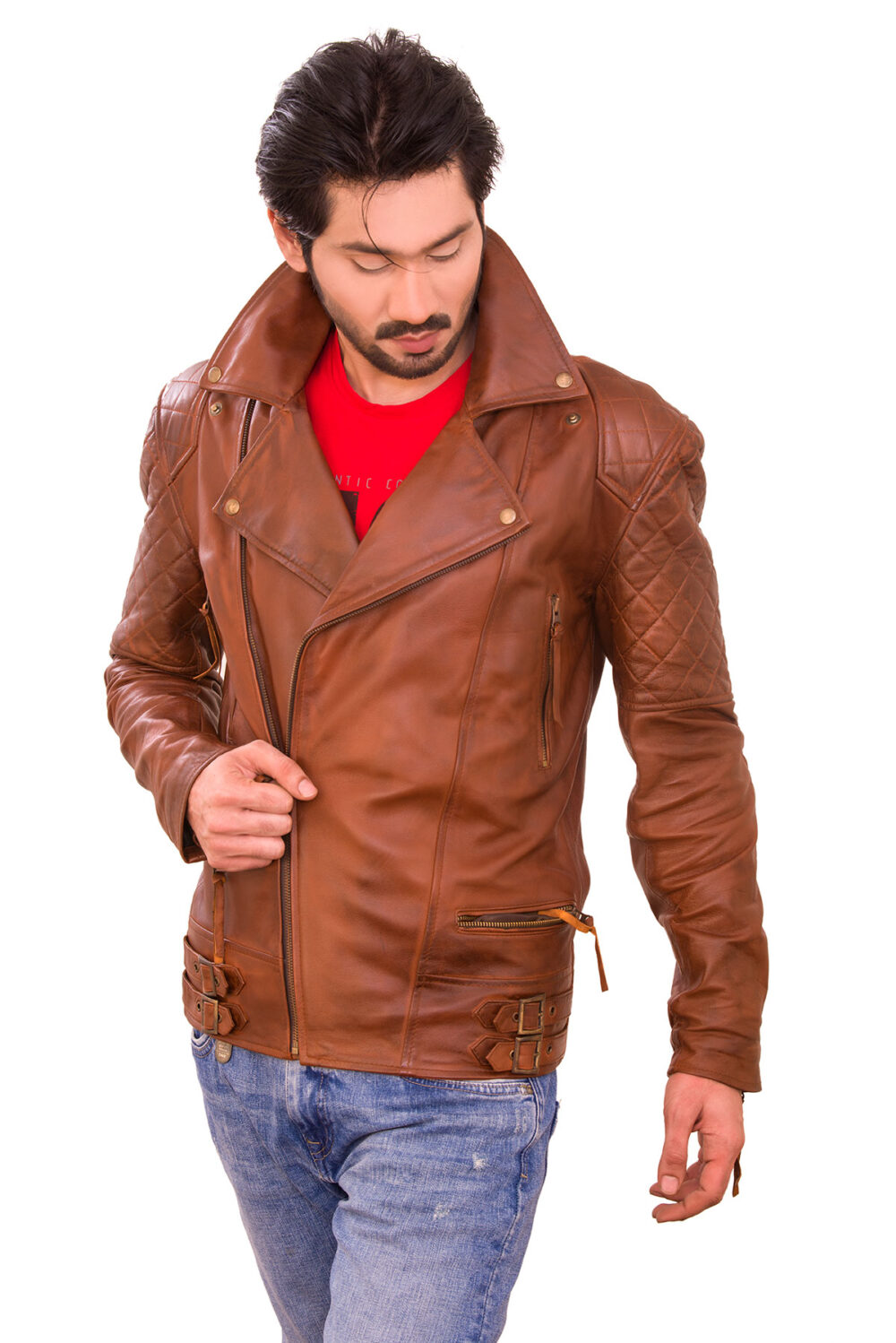boday fit brando leather quilted jacket