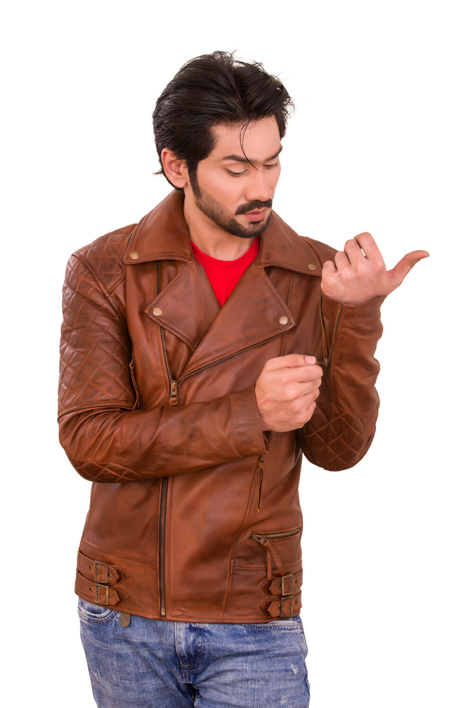 Sport Bike Racer Waxed Brown Leather Jacket