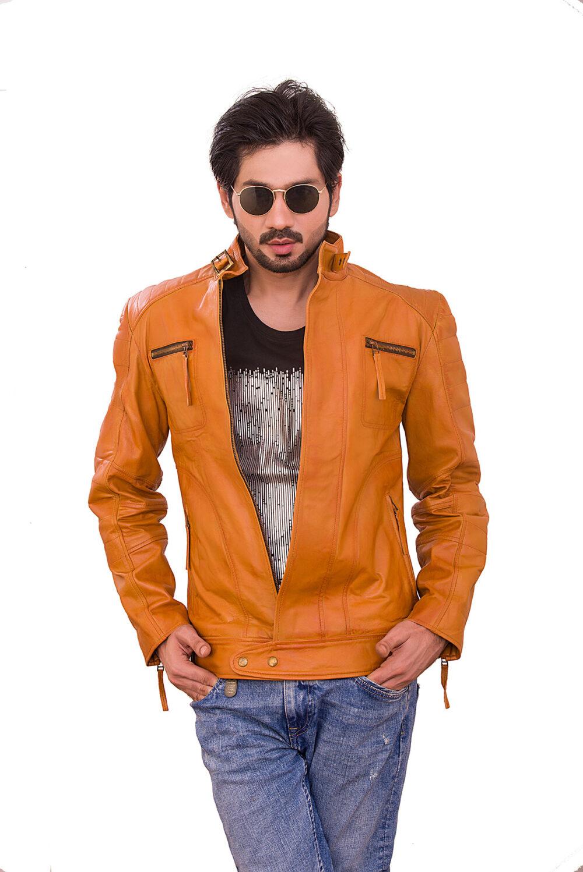 Mustard Moto Rider Sheepskin Leather Jacket