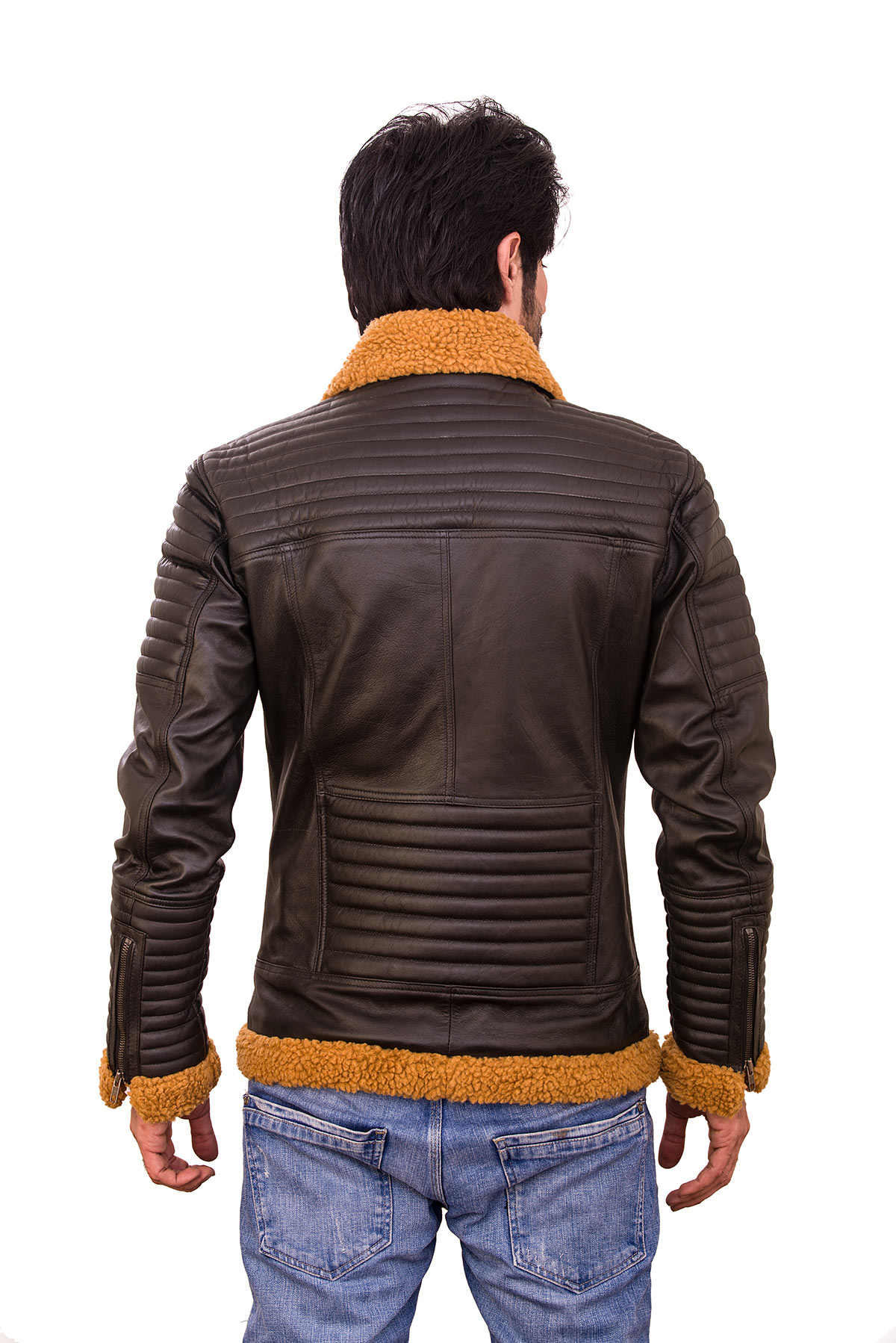 brown leather jacket mens outfit