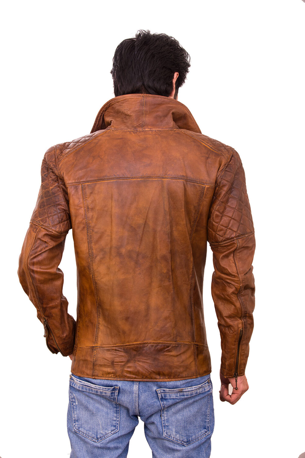cooper brown mens quilted leather jacket