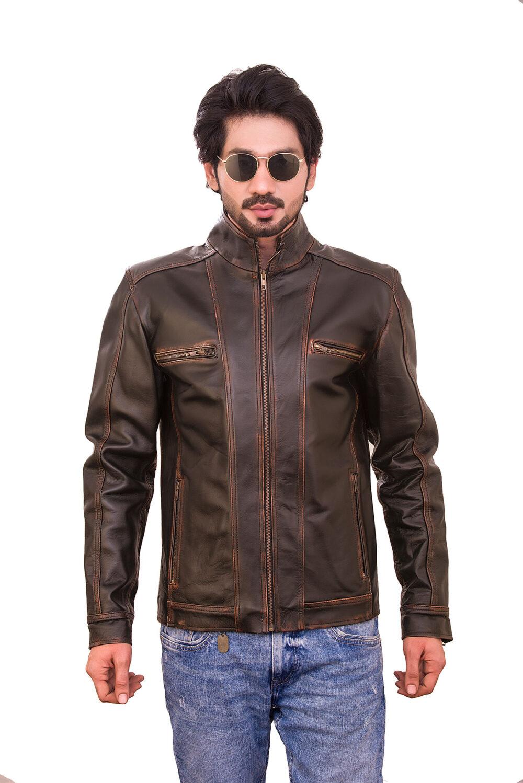 Magnum Opus Distressed Brown Leather Jacket
