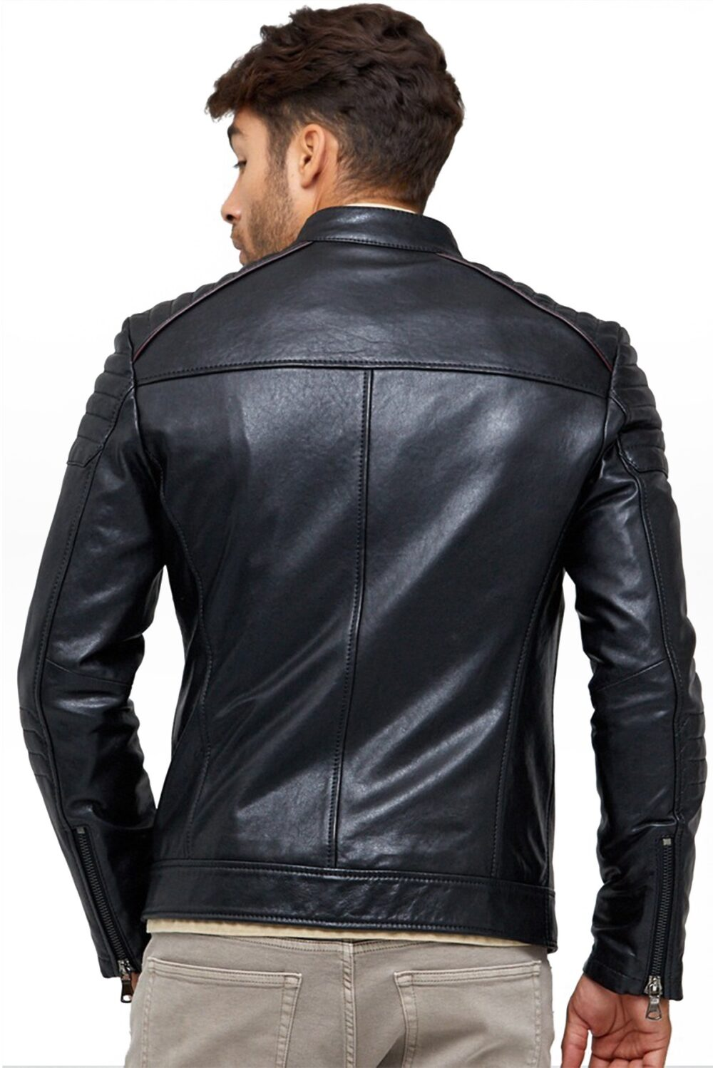 Aaron Slimfit Men's Black Leather Jacket