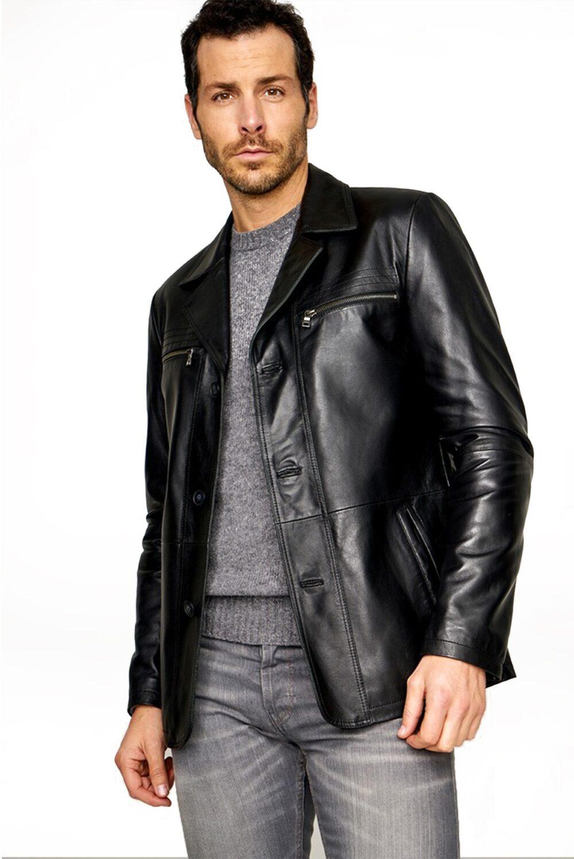 Jacobs Black Sheepskin Classic Leather Jacket