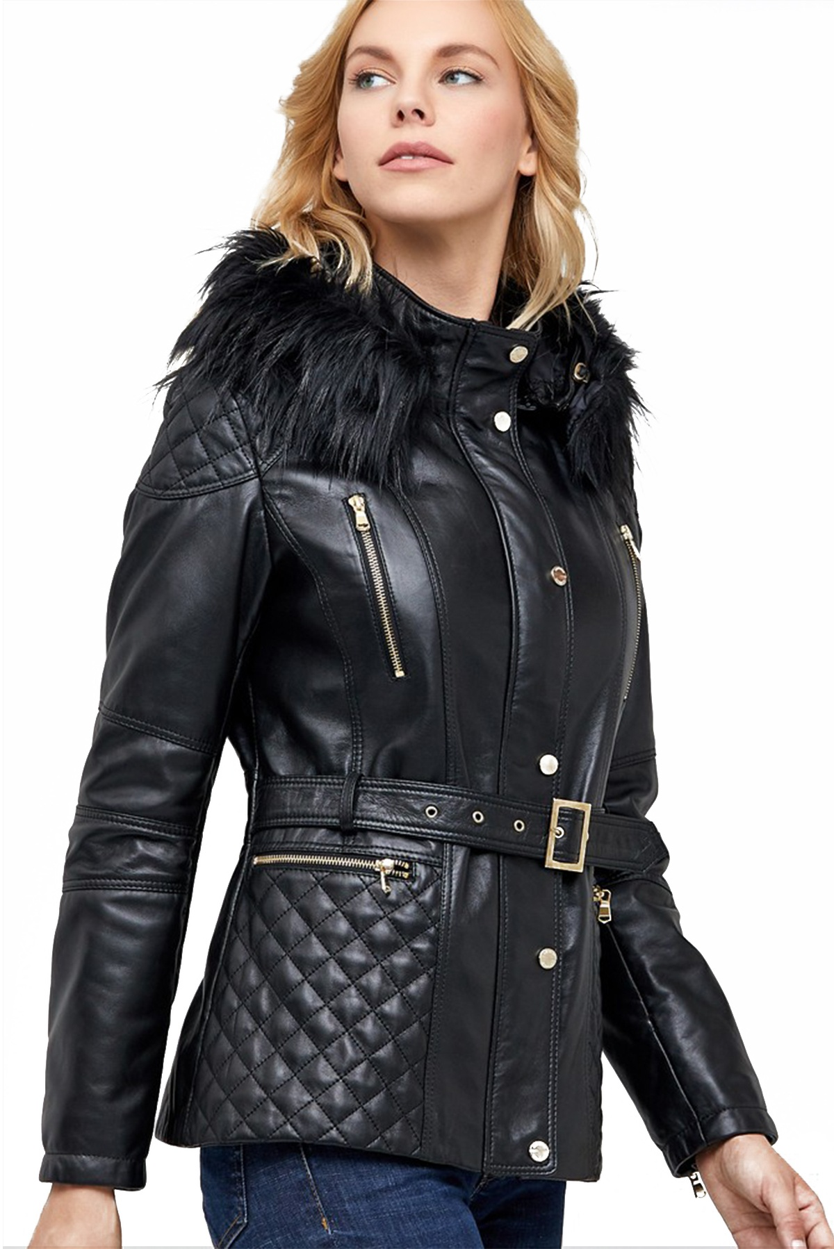 genuine leather jacket with hood