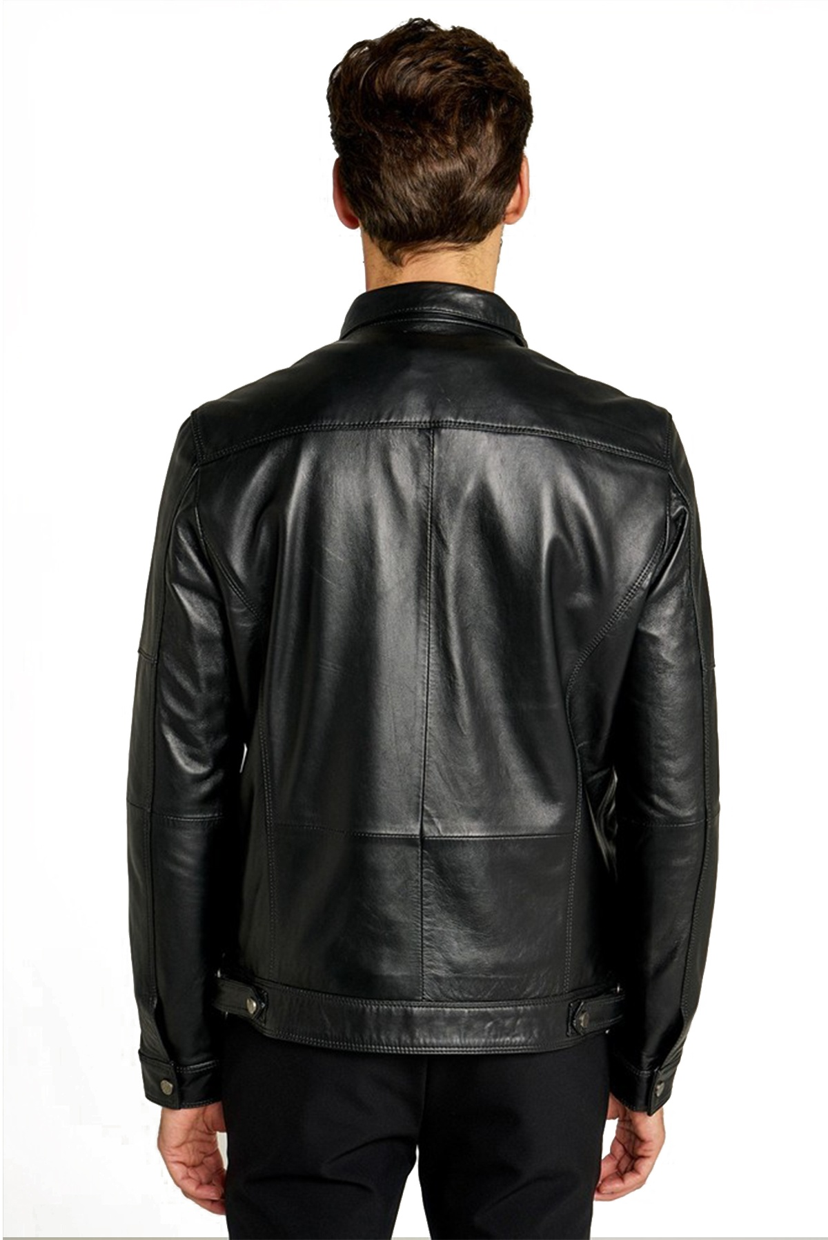 mens cropped leather jacket