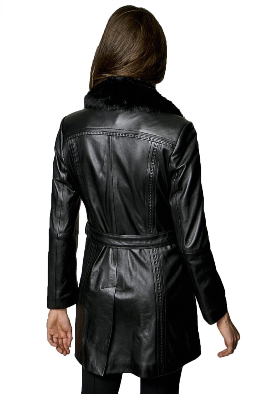 Gael Black Faux Fur Leather Coat