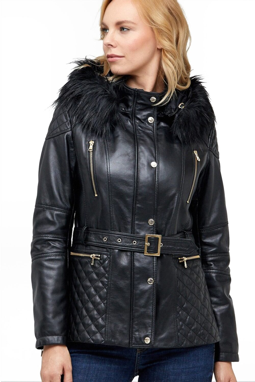 Ovilia Black Leather Peacoat Classic Sheepskin Jacket