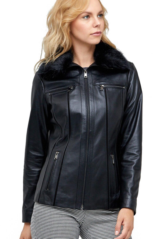 Reina Black Faux Fur Collar Leather Jacket