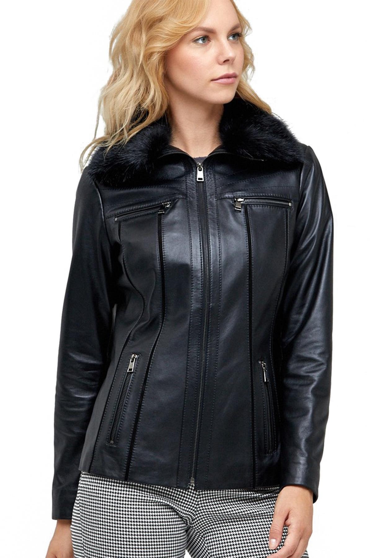 leather hooded jacket women's