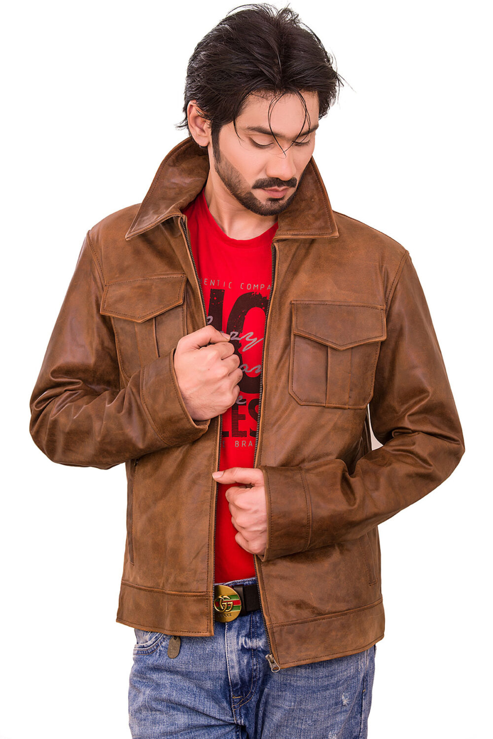 Parker Jens Distressed Brown Leather Jacket
