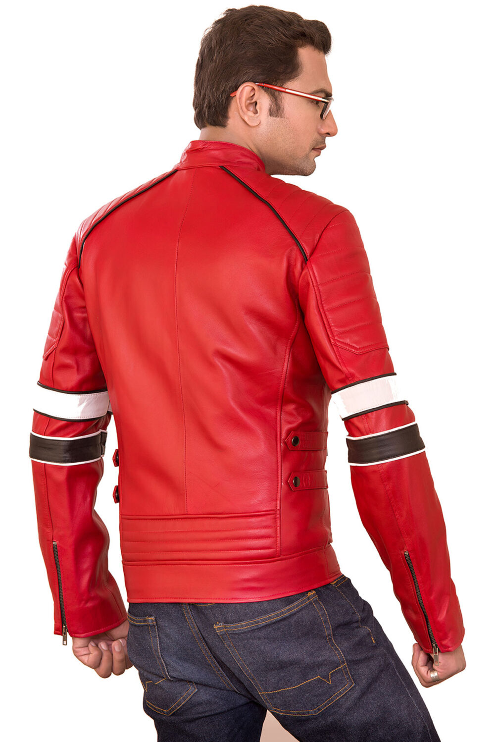 red jacket mens leather