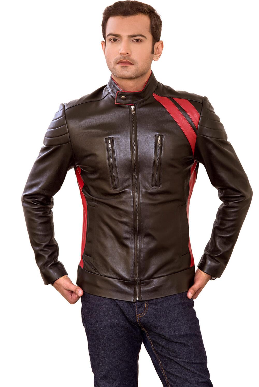 Striker Mens Modern Brown Red Stripe Leather Jacket