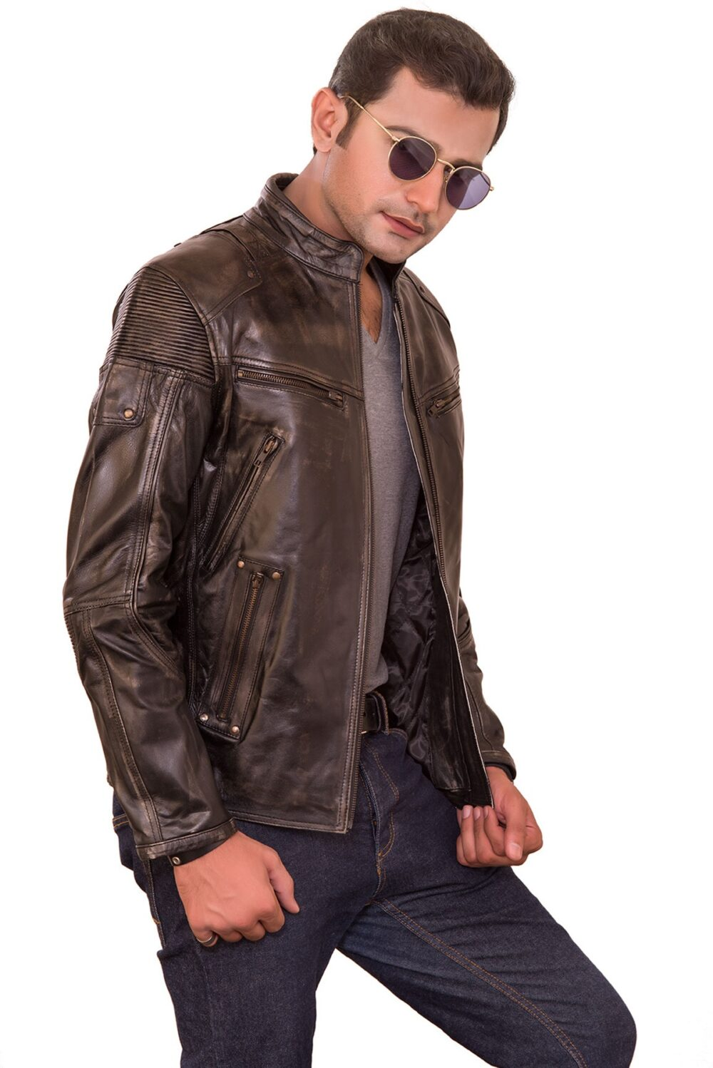 Tom Classic Retro Brown Mens Biker Jacket-Free Ship USA & Canada