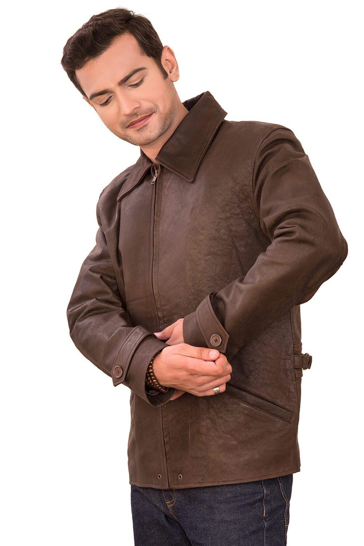 Lambart Brown Collar Sheepskin Men's Jacket