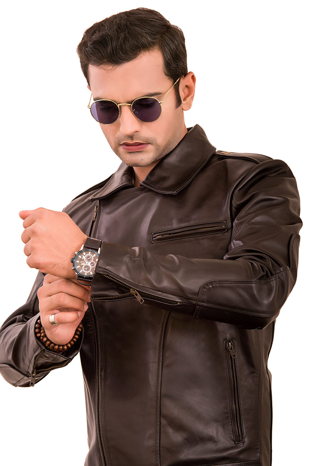 brown motorcycle leather jacket for sale
