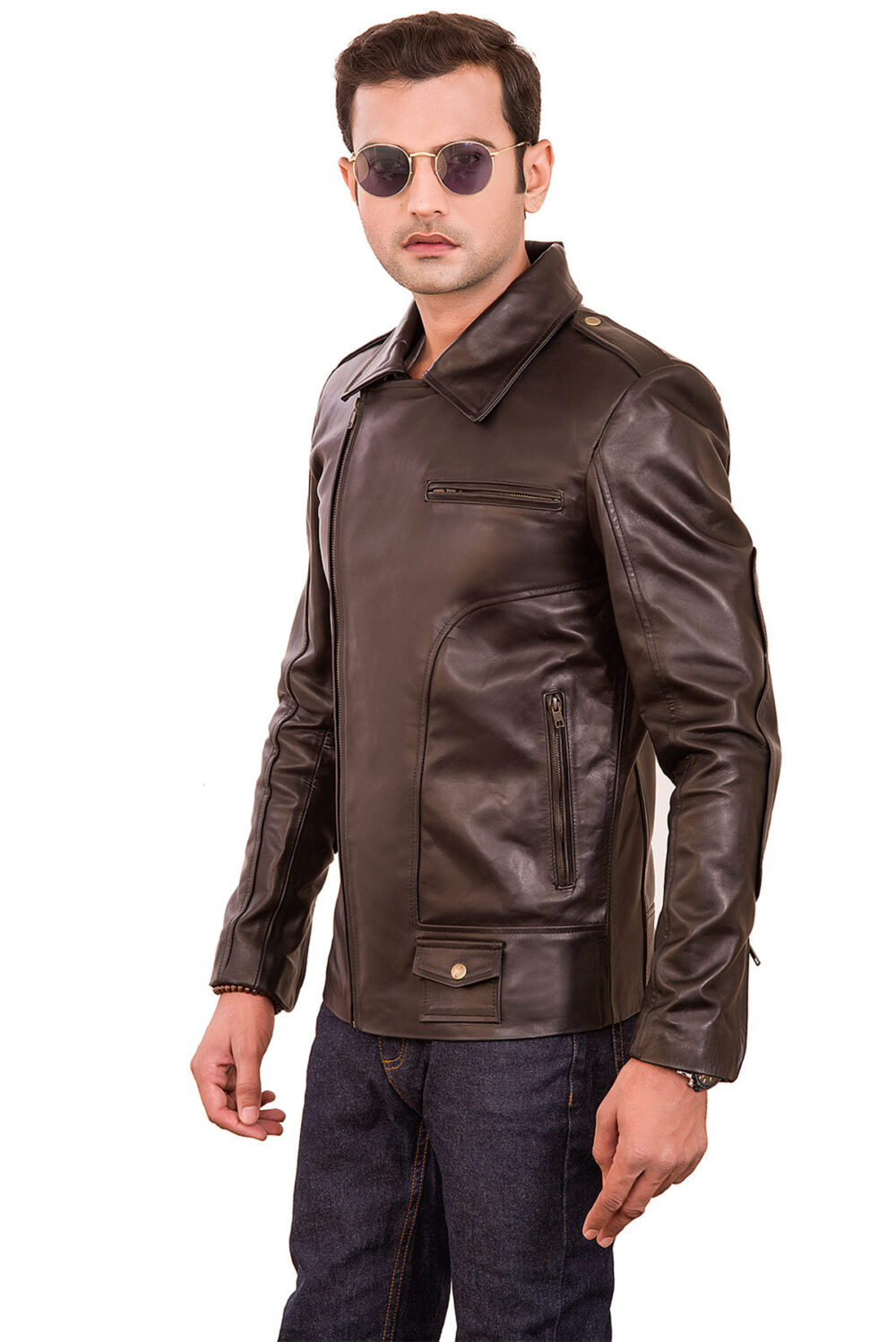 dark brown leather jacket outfit men's