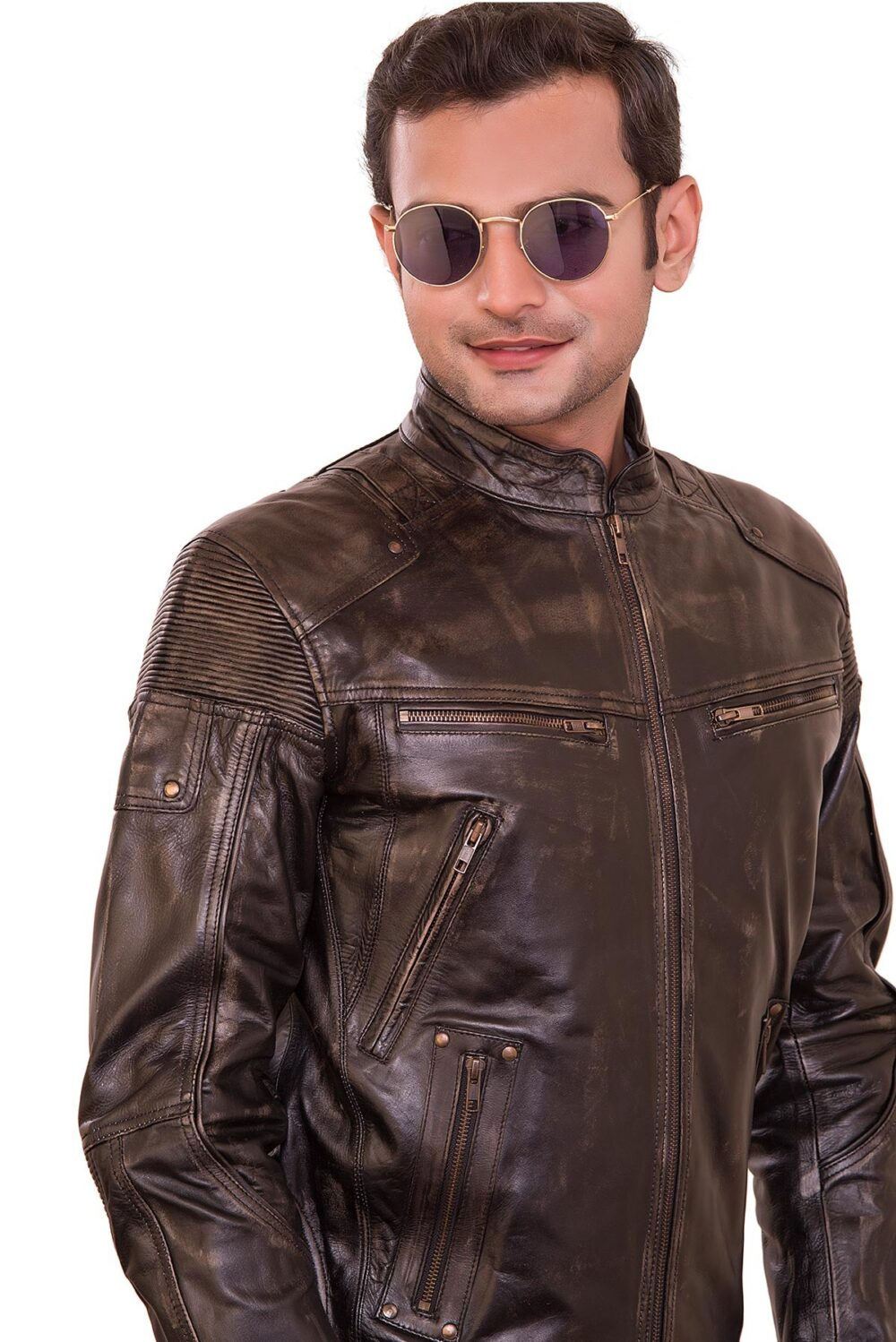 Tom Classic Retro Brown Mens Biker Jacket
