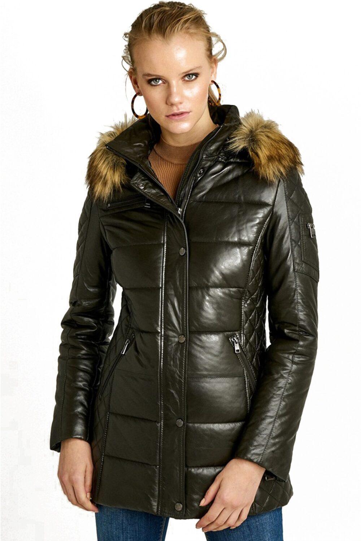 Rachel Womens Olive Puffer Jacket