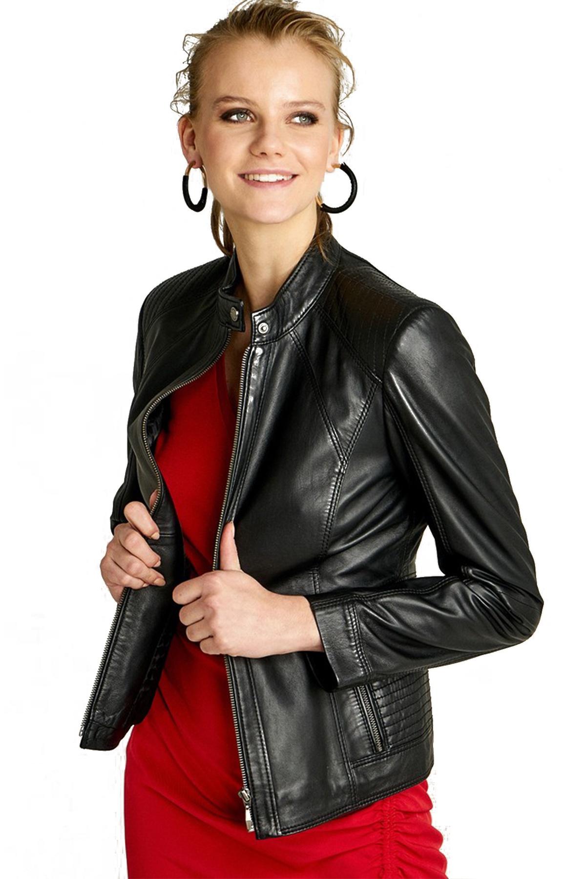 cropped black leather jacket