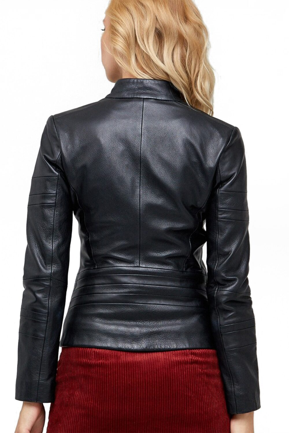 Sella Black Leather Zipper Sheepskin Jacket