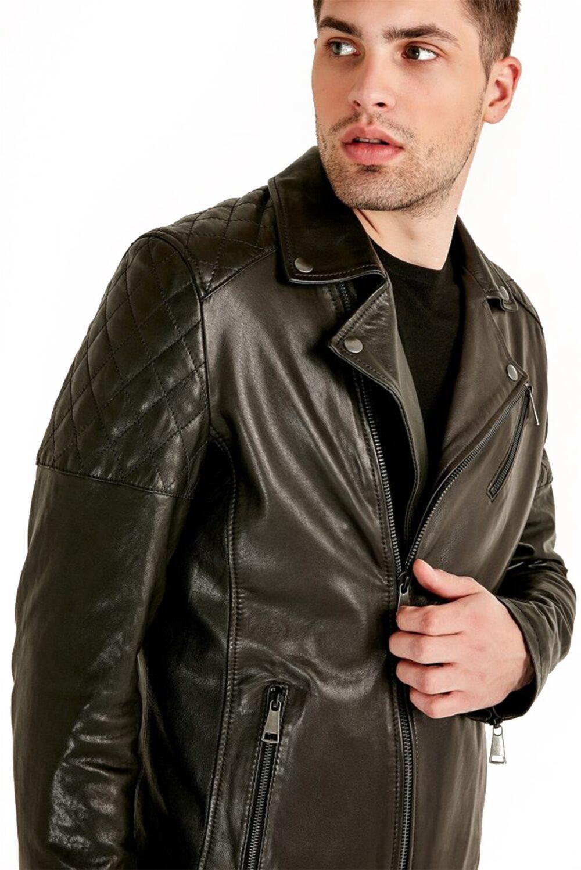 Grant Galore Olive Biker Leather Jacket