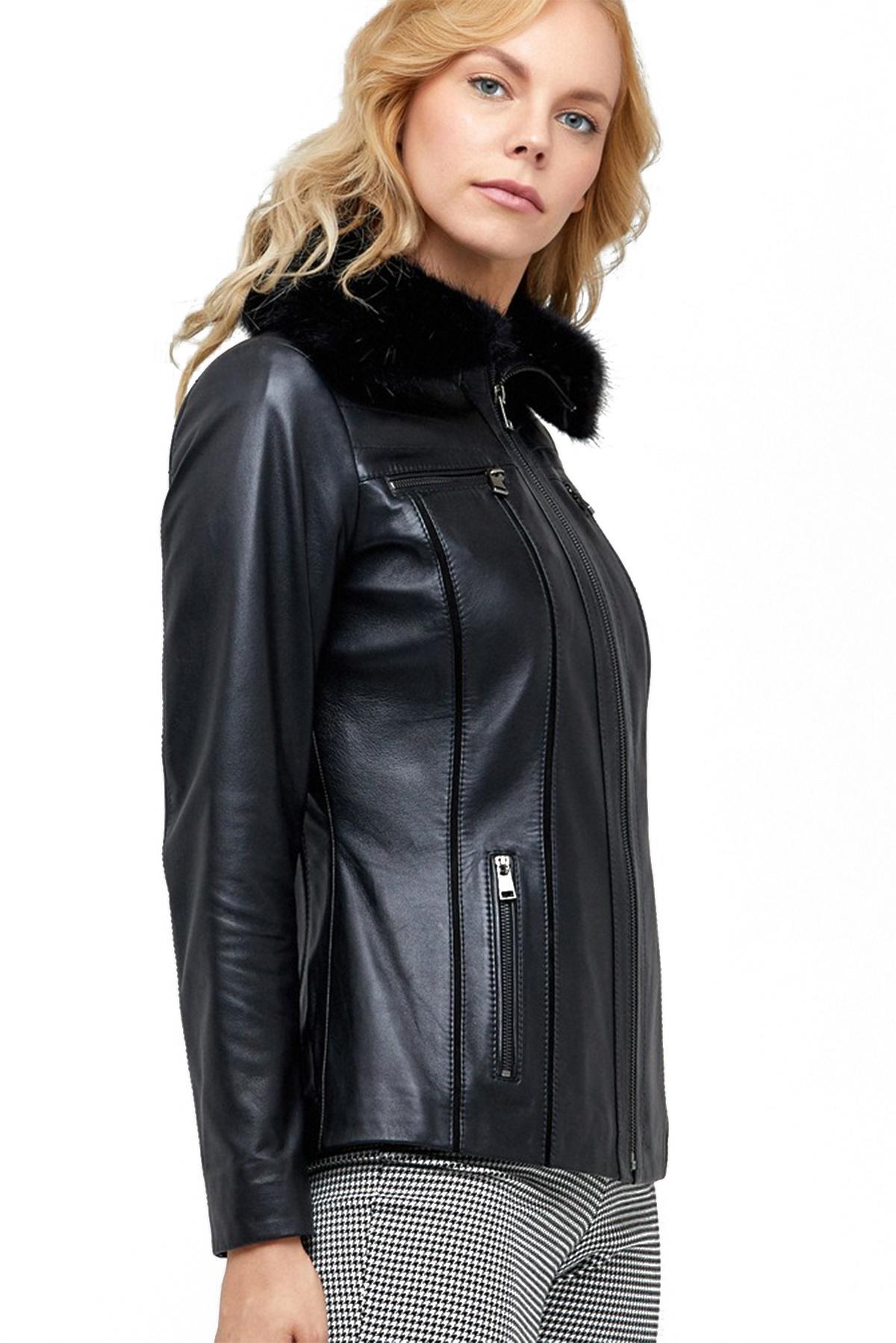 short black leather jacket womens