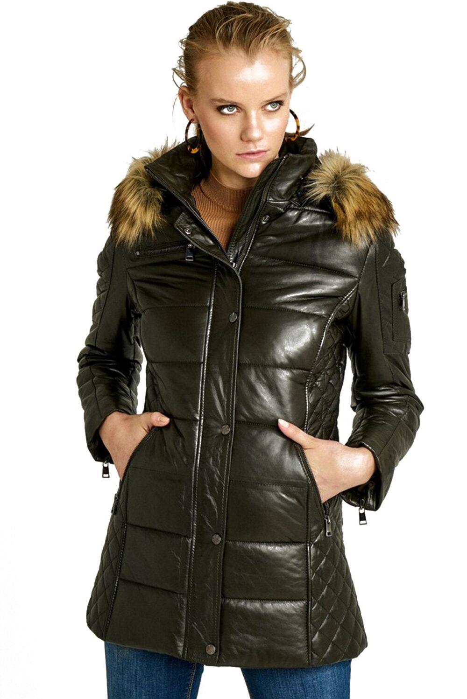 Rachel Womens Olive Puffer Jacket Free ship USA Canada
