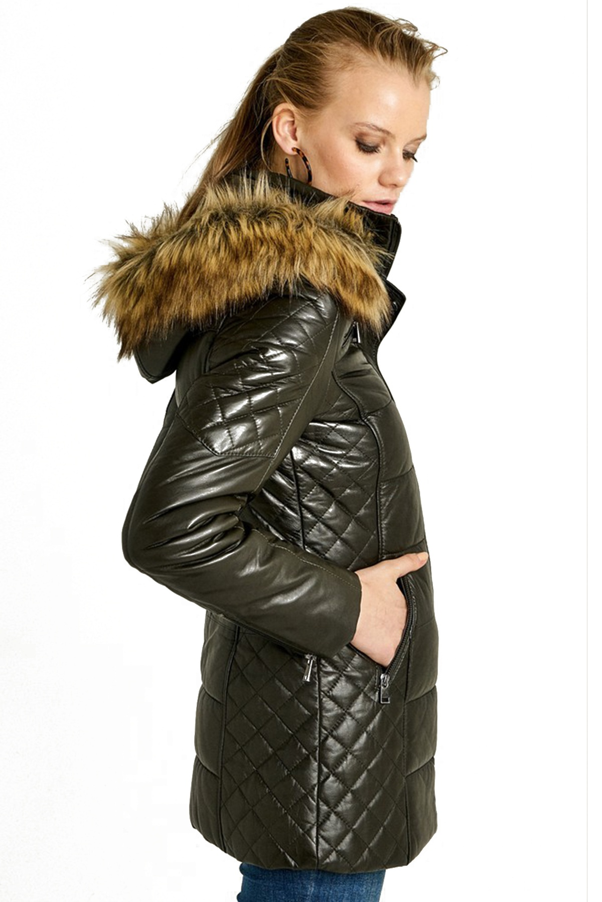 look belted puffer jacket