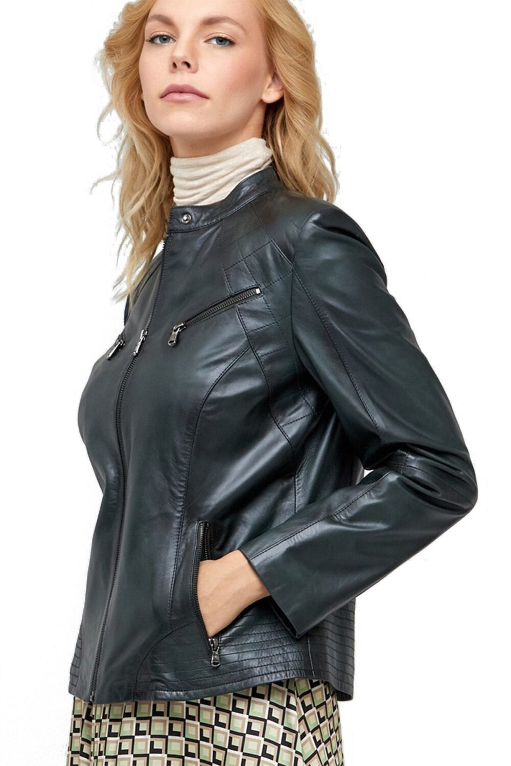 black or brown leather jacket women's