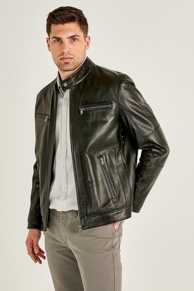 Alanzo Classic Moto Men's Black Leather Jacket