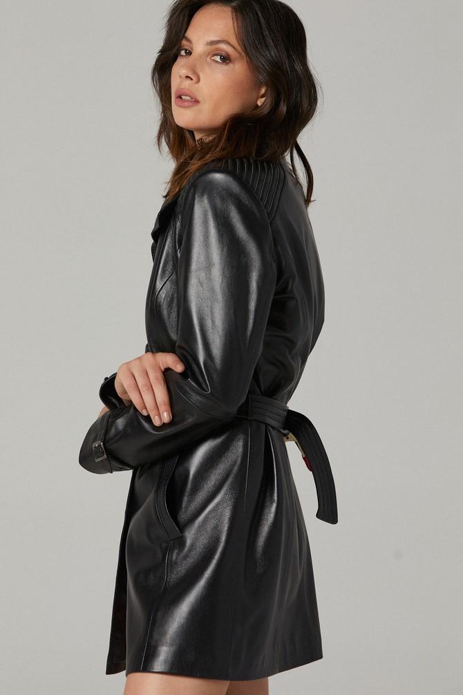 Cassandra Black Leather Women's Trench Coat