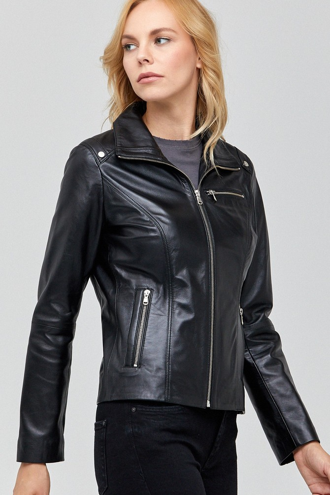 Claris Women's Sheepskin Black Leather Jacket