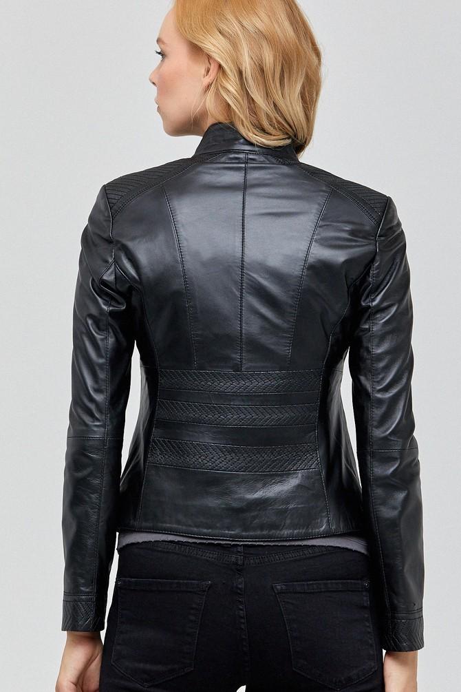 Charlotte Ladies Black Leather Jacket
