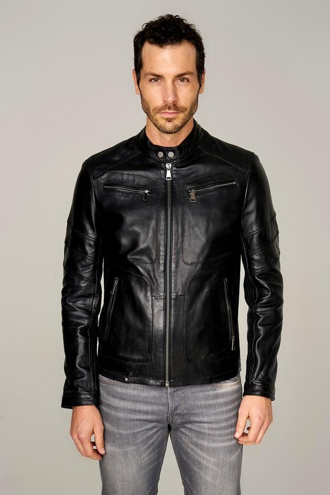mens black lambskin leather jacket