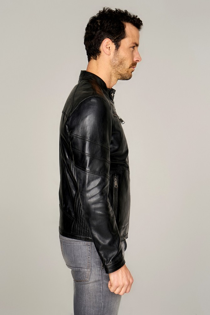 black snap button collar leather mens jacket