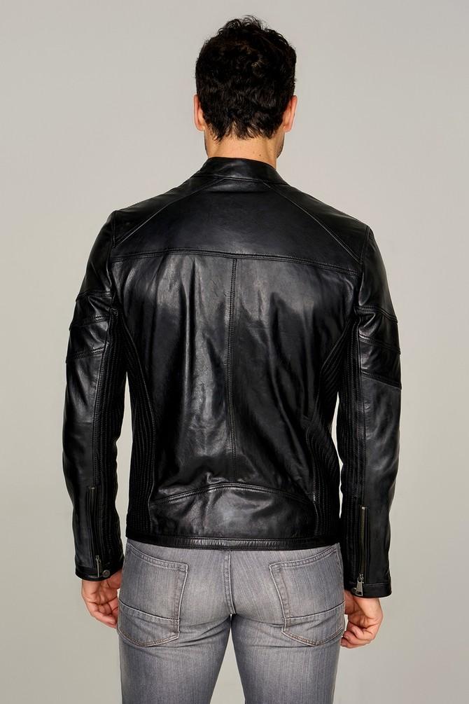 black leather blazer men