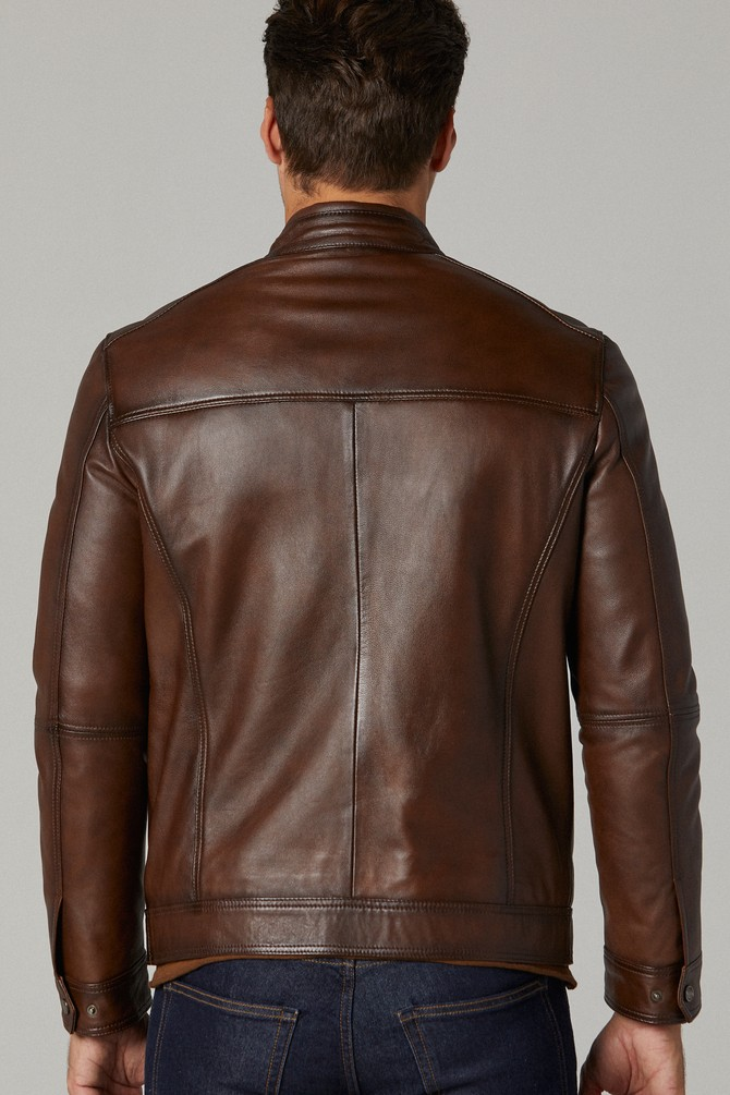 Ford moto brown leather jacket