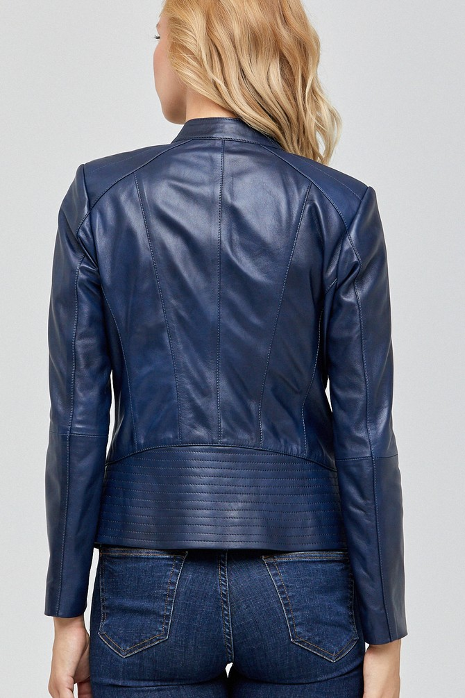 Lucia Women's Blue Sheepskin Leather Jacket