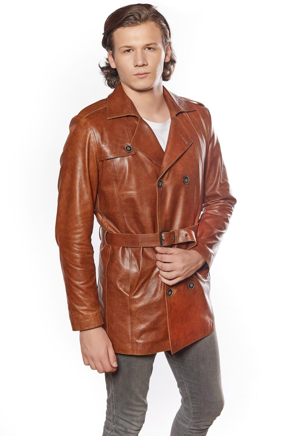 Genuine Leather Men Trench Coat Tobacco
