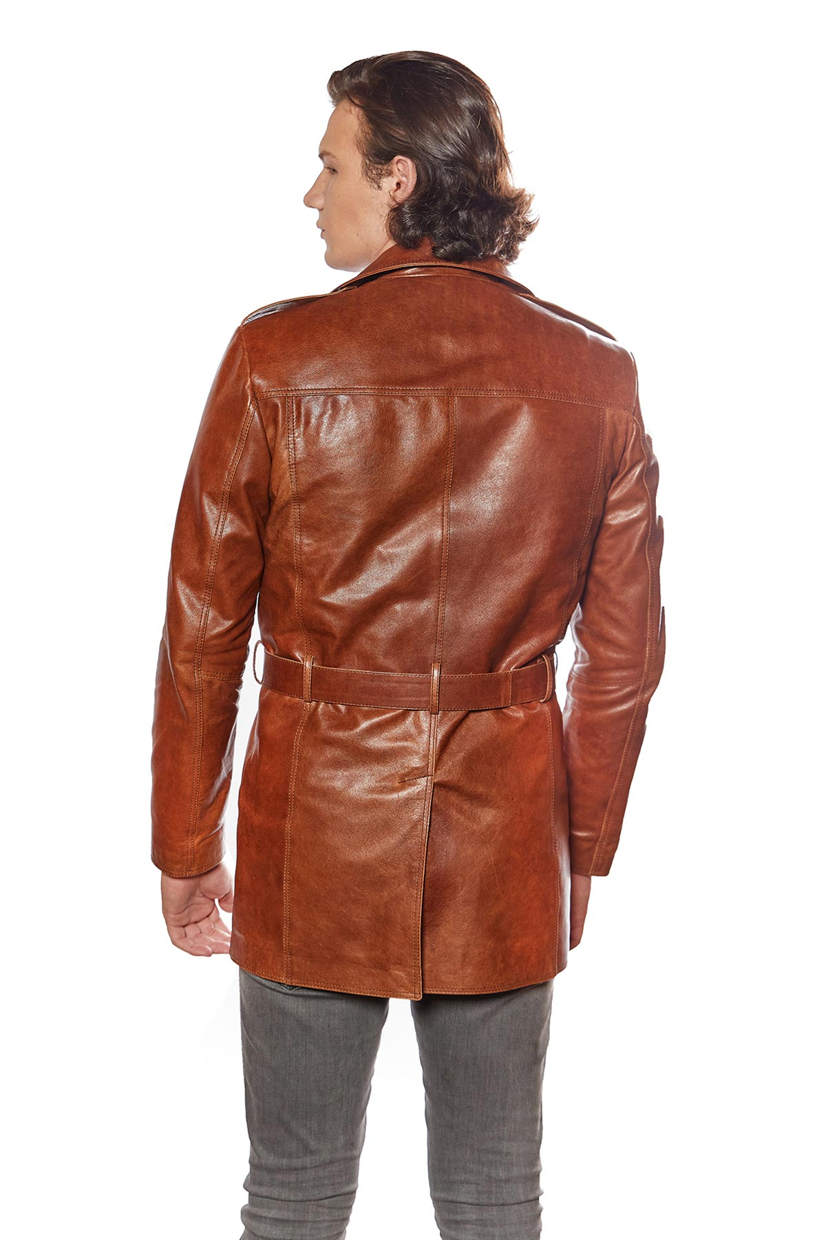 brown leather jacket outfit mens